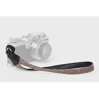 Walnut Baby Alpaca Wool and Black Leather Camera Wrist Strap (ring attachment)