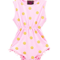Pink and Gold Dot Pom-Pom Romper