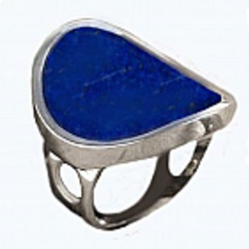 Sterling Silver and Lapis Lazuli Solitaire Ring