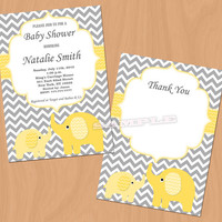 Baby Shower Invitation Yellow Elephant Baby Shower Invitation Baby Shower Invitations Invites (85v) -Free Thank You Card - Instant Download