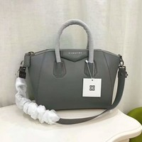 Givenchy Women's Antigona Sugar Goatskin Leather Satchel Bag, Light grey