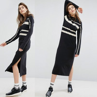 "Woman ""Adidas"" Originals Fashion Long sleeves Black Midi Dress"