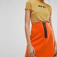 Reclaimed Vintage Inspired Contrast Zip Mini Skirt at asos.com