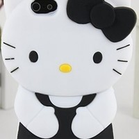 Black White Yellow Hello Kitty Hair Bow Silicon Rubber Phone Case Cover
