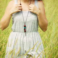 Long Clay Necklace casual minimal style handmade by MisoLab