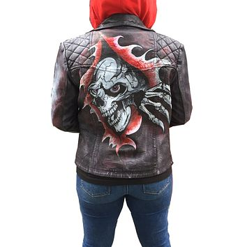 Limited Edition hand painted Biker washed Waxed leather jacket