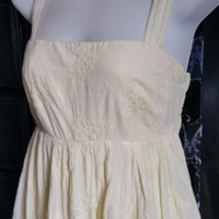 GAP Dress Sundress 100% Cotton Lined Light Yellow Boho Embroidery Sz 4 S