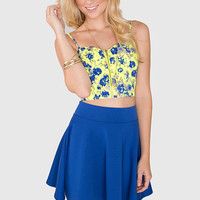 Lively Floral Bustier - Neon Yellow