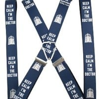Buckle Down Doctor Who Suspenders (Blue - Keep Calm I'm The Doctor)