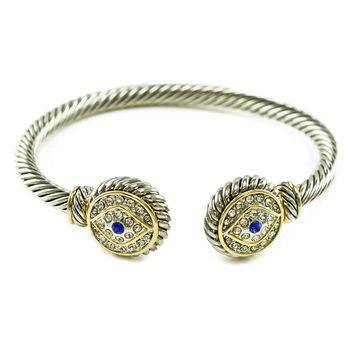 Jaela Round Evil Eye Cable Open Bracelet