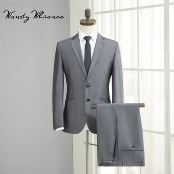 High Quality Brand Mens Business Suit 2018 Wedding Suits For Men Grey Blazer Two Buttons Suit Male