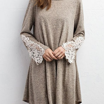 Solid Bell Sleeve Dress with Crochet Sleeve