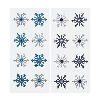 Glitter Beaded Snowflake Stickers, Silver/Turquoise/Black,  1-1/2-Inch, 2-Packs