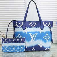 Onewel Louis Vuitton Print LV Gradient Colorful Internal Stripe Shoulder Bag Shopping Bag Blue