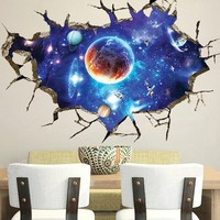 3D Outer Space Universe Removable Wall Sticker Decor Decal Mural Room Home DecorSize: About 90×60cm
