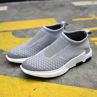 Fashion Casual Men Fly Weave Low Help Shoes Sneakers Running Shoes Socks Shoes