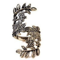 Vintage Bronze Unique Carving Hollow Beauty Leave Ring:Amazon:Jewelry