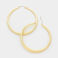 14 K Gold Filled Textured Metal Hoop Pin Catch Earrings
