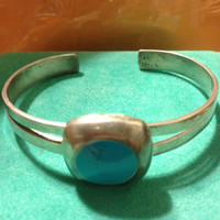 Vintage TAXCO Cuff Bracelet Sterling Silver Turquoise Enamel Stamped 925 Mexico Adjustable 21 grams