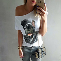 White Animal Print One Off Shoulder Top