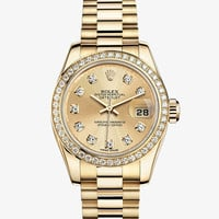 Gold Lady Datejust Rolex Watch