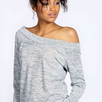 Evie Slash Neck Knitted Top