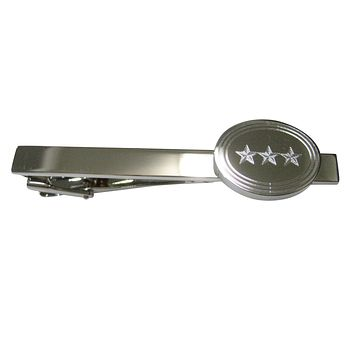 Silver Toned Etched Oval 3 Stars Tie Clip