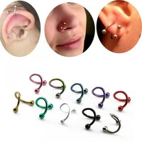2Pcs S Shape Surgical Steel Spiral Twisted Lip Ring Nose Rings 16 Gauge Ear Cartilage Helix Piercing Body Accessories Jewelry