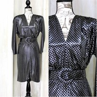 Vintage 80s metallic dress size S / iridescent silver black dress / sexy secretary dress