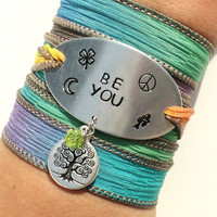 Be You Silk Wrap Bracelet Moon Bohemian Yoga Jewelry Peace Clover Hippie Love Tree Unique Gift For Her Stocking Stuffer Under 50 Item K84