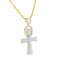 Gold Finish Ankh Cross Pendant  Sterling Silver Moon Cut Chain