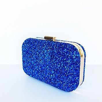 Glitter Clutch Bag - Royal Blue Cobalt Purse