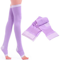 Breathable Lady Compression Knee Toe Socks Fat Burn Leg Slim Varicose Veins Thigh High Stock Hot!