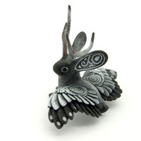 Winged Jackalope Wolpertinger Bunny Rabbit Hare Animal Totem Sculpture Rabbit Hare figurine fantasy creature