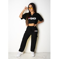 FENDI Summer Fashion Women Leisure Print Short Sleeve Top Pants Set Two-Piece Black