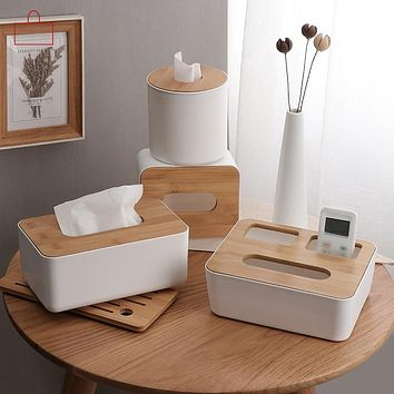 Solid Wood and Plastic Tissue Box
