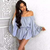 Women's Sexy Chambre Blue Bell Sleeve Ruffle Romper Shorts Set Off the Shoulder