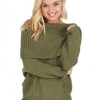 My Way Cable Knit Sweater in Olive   Monday Dress Boutique