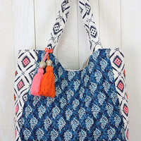 Quilted Paisley Beach Tote