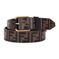 Chocolate Brown Leather Monogram Belt by Fendi