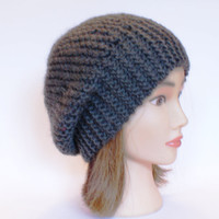 Beret style slouch hat army green slouchy beanies hats women knitted irish handknit