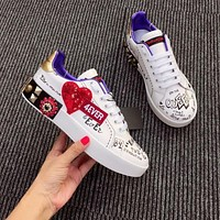 Dolce & Gabbana D&g Printed Calfskin Portofino Sneakers With Patch And Embroidery