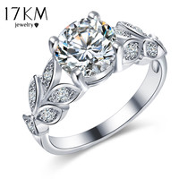 17KM Silver Color Crystal Flower Wedding Rings For Women Jewelry Bague Bijoux Gold Color Femme Engagement Ring Accessories