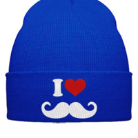 I LOVE MUSTAGE EMBROIDERY HAT - Beanie Cuffed Knit Cap