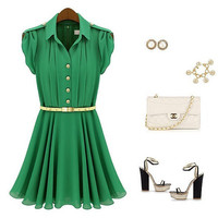 Attractive Green High Collar Short Sleeves Summer Dress