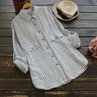 NANABUBU Women Striped Shirts 2018 Summer New Roll Up Long Sleeve Casual Blouses Linen Japanese Blouse Loose Vintage Simple Top