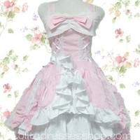 Short Sweet Sweetheart Straps Sleeveless Lolita Dress With Front Bandage Wood Style