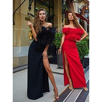Olgitta Ostrich Feather Decorated Maxi dress