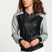 Grey Leatherette Quilted Bomber Jacket