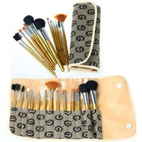 FASH Cosmetics Professional 13 Pcs Natural Goat Hair and Nylon Cosmetic Brush Set with Printed Pouch